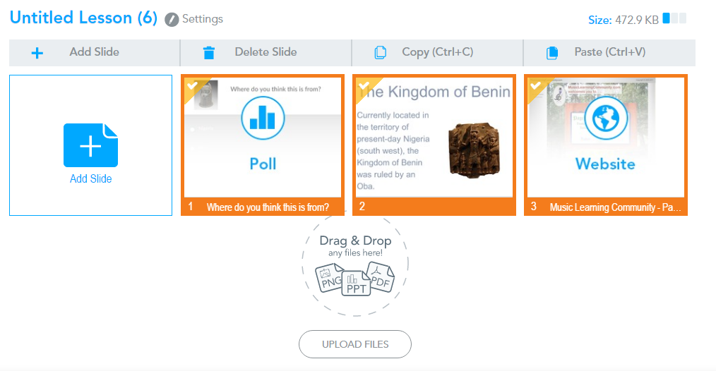 how can i copy slides from one lesson to another nearpod